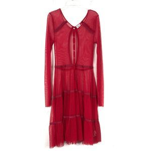 Free People Sheer Button Down Red Midi Dress Small